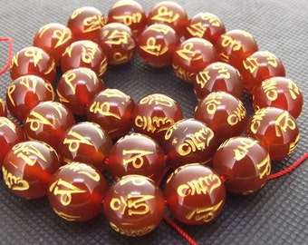 """Strands Shiny Beauty Red and Yellow Agate Loose One strand 16"""""""
