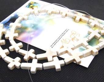 "Loose beads cross white turquoise beads stone FULL STRAND 16"" gemstone"