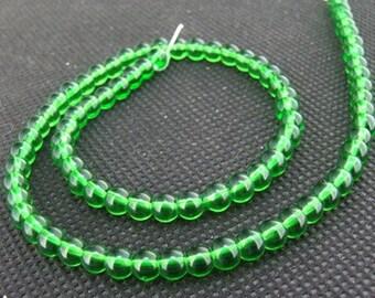 """Loose beads dark green round glass beads FULL STRAND 12"""" gemstone,glass stone"""