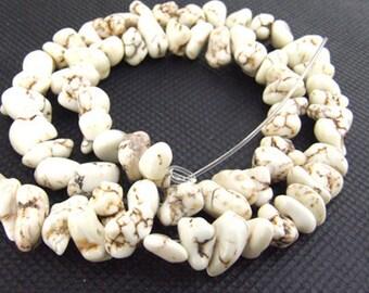 "gemstones Loose nugget  random white turquoise  beads stone FULL STRAND 16"""