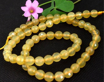 """Loose Faceted Yellow Agate 6mm Gemstone Bead Full Strand 15.5"""""""