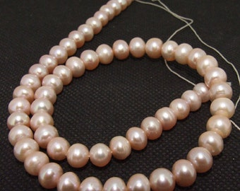 Loose Round 7mm Lavender  freshwater cultured Pearl beads FULL STRAND