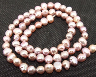 Luster Lavender 5mm freshwater cultured Pearl beads FULL STRAND