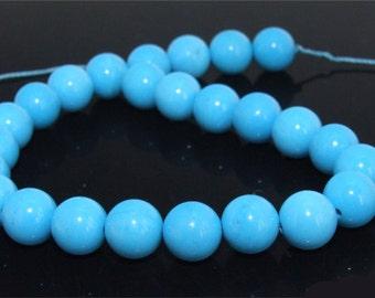 "Loose Blue Turquoise Beads 8mm Gemstone 25Beads 8"" Full Strand"