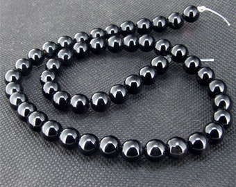 "gemstones Loose black agate 8mm beads stone FULL STRAND 15"""