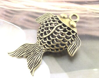 Fish Charm Antique Bronze Filigree Metal 50mm---1Beads