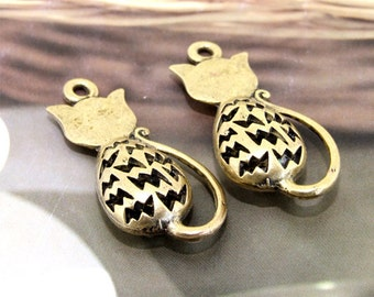 Cat Antique Bronze Filigree Metal 36mm---2Beads