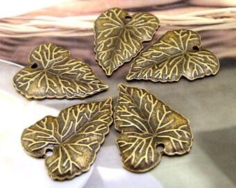Leaf Antique Bronze Filigree Metal 34mm---5Beads