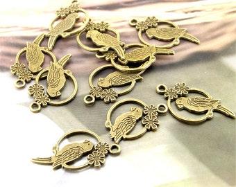 Bird Antique Bronze Filigree Metal 28mm---10Beads