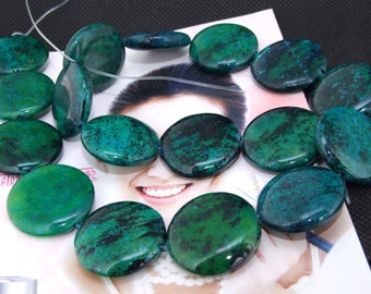 Loose Gemstone coin malachite gemstone 20mm  25mm bead full strand 15.5""