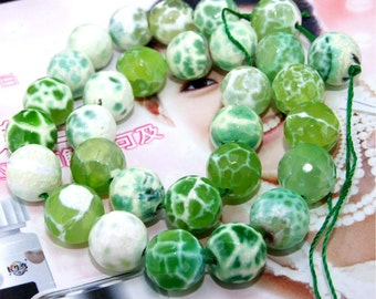 """Faceted Green  Agate 12mm Gemstone beads Loose One strand 13.5"""""""