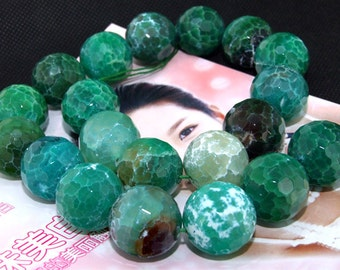 Big Green Faceted Agate 20mm Gemstone beads Loose One strand 15.5""