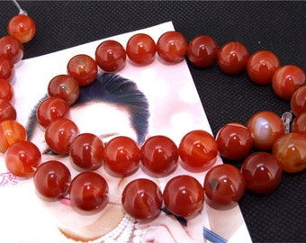 Red Agate 12mm Gemstone beads Loose One strand 15""