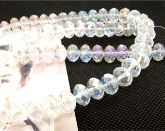 10mm faceted shiny clear glass beads,Loose 70beads,full strand of agate  FULL STRAND 20""
