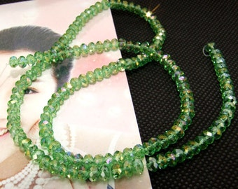 "4mm faceted shiny green color glass beads,Loose 149beads,full strand of agate  FULL STRAND 17"" gemstone"