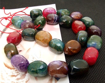 "16mm faceted mixcolor agate beads,Loose beads,full strand of agate  FULL STRAND 15"" gemstone"