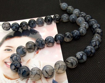 """Lucky Shiny white black Agate Loose One strand 16"""" 10mm"""