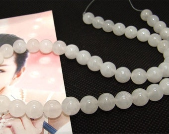 Strands 8mm white jade round bead Loose One strand
