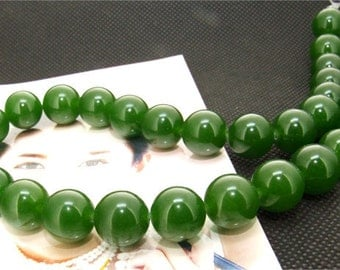 Strands 12mm olive jade round bead Loose One strand