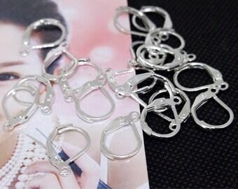 Earring Hook Plated Silver Kidney Filigree Metal 16mm---10Pcs