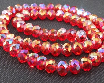 "10mm faceted AB shiny red glass beads,Loose 70beads-- FULL STRAND 20"" gemstone"