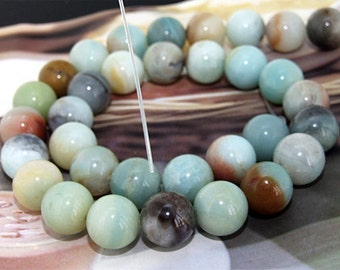 Round Amazon Jasper 12mm Gemstone bead Loose  One strand 15.5""