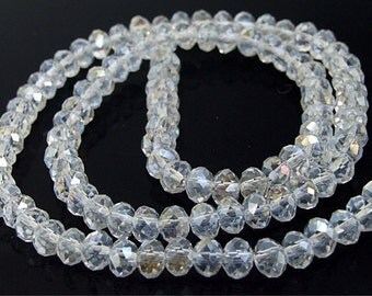 "6mm faceted AB clear glass beads,Loose 90beads-- FULL STRAND 17""  gemstone beads"