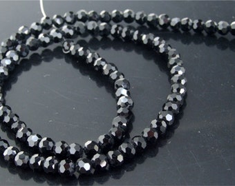 "4mm faceted AB black glass beads,Loose 95beads-- FULL STRAND 14.5""  gemstone beads"