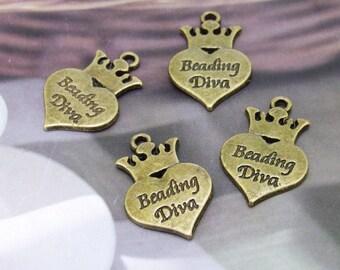 Carved Words Heart Antique Bronze Filigree Metal 24mm---4Beads