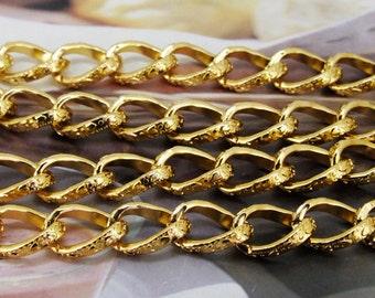 "Loop Twist Cut  Yellow Gold Chain 3mm---38"""