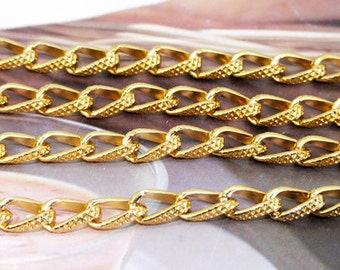 "Loop Twist Cut  Yellow Gold Chain 8mmx12mm Curb Chain 2mm---38"""