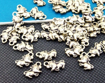 30pcs  Superb Bronze Filigree Double Carved mouses Pendants Charm Beads  7mmx12mm