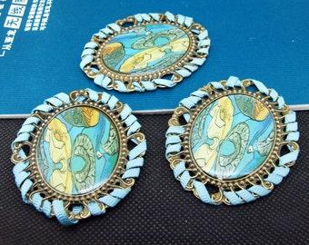 Turquoise Setting Antique Bronze Base Pendants Filigree Metal 50x60mm---3 PCS