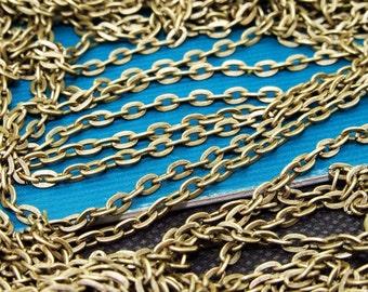 18ft (5.2m)  Loop Bronze Chain Filigree Metal Flat Oval Chain Link Loop 2.5mmx4.5mm