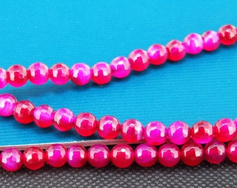 Loose Gemstone faceted Peach Agate 6mm gemstone  bead full one strand 15""