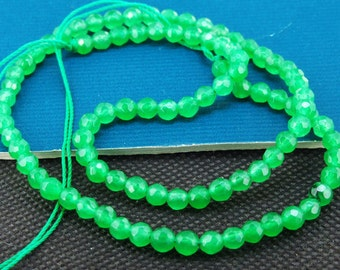 Loose Gemstone Round Faceted Green Jade 4mm gemstone  bead full one strand 15""