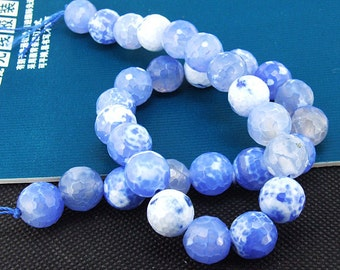 Loose Gemstone Round Faceted Blue Agate 12mm gemstone  bead full one strand
