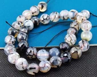 Loose Gemstone Round Faceted Dragon Agate 10mm gemstone  bead full one strand 15""