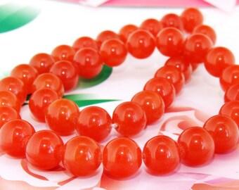 "Loose Gemstone Round Orange Jade 10mm gemstone  bead full one strand 15"""