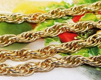 "Loop Twist Cut Plated Yellow Gold Chain 2mm loop 7mmx10mm---38"""