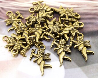 16Beads--- Angel Antique Bronze Filigree Findings Metal Pendant  Beads 14mmx22mm 3E