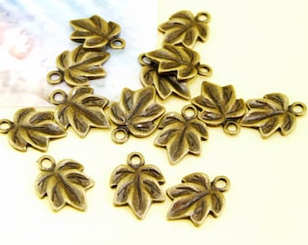 40Beads--- Leaf  Bronze Plated Brass Filigree Findings Metal Pendant Beads 10mmx15mm--E