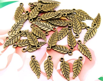 40Beads--- Charm Leaf Bronze Plated Brass Filigree Findings Metal Pendant Earwire Beads 6mmx19mm 3F