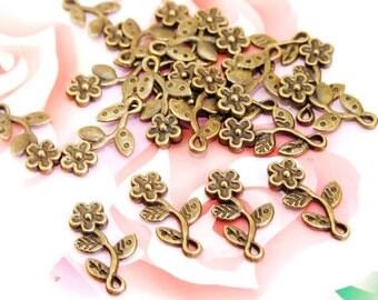 30Beads--- Charm  Five Petaled Flower  Pendant Bronze Plated Brass Filigree Findings Metal Pendant Earwire Beads 10mmx18mm 3G