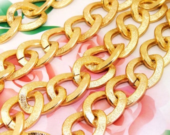 """Long Shiny Width Oval Loop 20mm-25mm Plated Gold Aluminum  Metal Chain 2mm---38"""""""