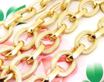 """10 Chains Long Shiny Loop Dot  22mmx28mm  14mmx25mm Plated Gold Aluminum  Metal Chain 5mm---10x 38"""""""
