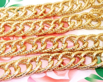 """Long Shiny Double Loop Dot  18mmx22mm Plated Gold Aluminum  Metal Chain 3mm---38"""""""