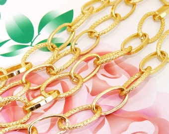 """Long Shiny Dot O Loop 15mmx24mm Plated Gold Aluminum  Metal Chain 2mm---38"""""""