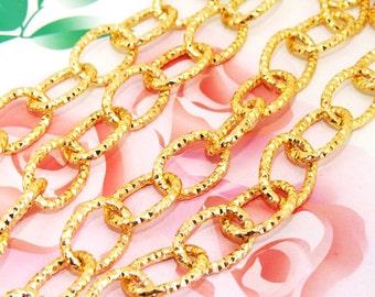 "Long Shiny O Dot Loop 13mm-18mm Plated Gold   Metal Aluminum Chain 2mm---38"""