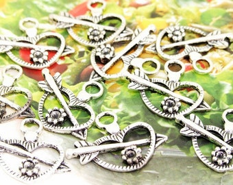 15Beads--- Charm Cupid Heart arrow Flower Pendant Beads  Silver Plated Filigree Findings Metal Connector Link Beads 20mmx26mm 3H